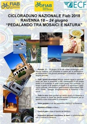 """Cicloraduno 2018: a Ravenna dal 18 al 24 giugno """"Pedalando tra mosaici e natura"""""""