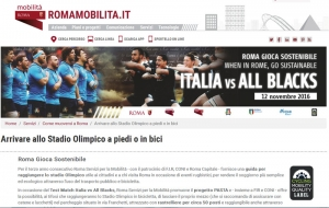 Roma. Al Match di rugby Italia-All Blacks la Cycling Mobility Quality Label